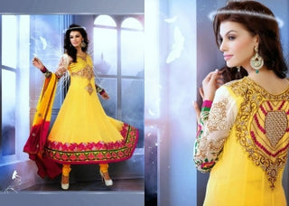 Faux Georgette Designer Salwar Suit in Yellow