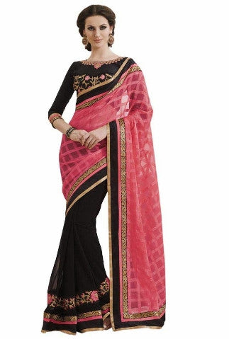 Black half chiffon saree and half georgette saree with pink pallu