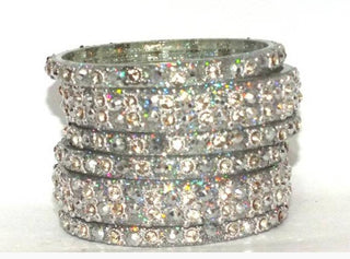6 Silver Glass Bangle with Sparkling design
