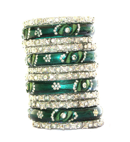 Green and silver glass bangles