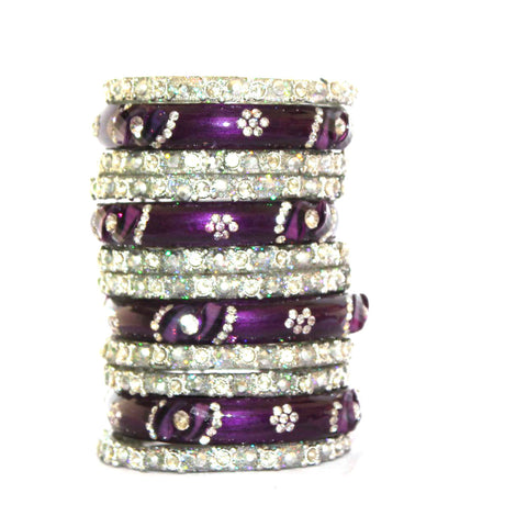 Designer Rajasthani bangle set in Purple and Silver color
