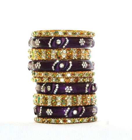 Gold and purple glass bangles