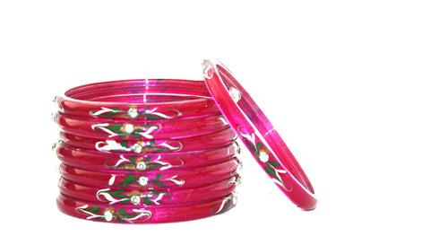 Pink glass bangles set of 8 bangles with beads and gem work