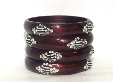 Maroon Glass Bangles for women