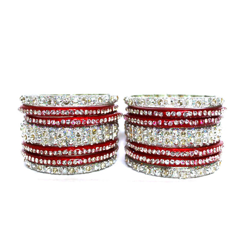 Red and silver glass bangles