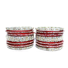 Glass Bangles in Red and Silver Color for women