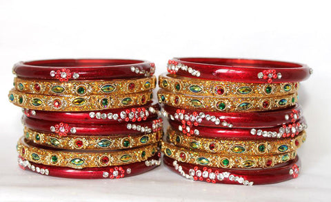 Red/Gold Glass Bangles for women