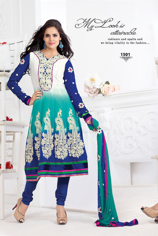 Designer Goergette Suit with cyan and work in white color