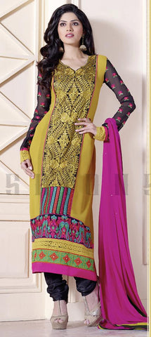 Yellow georgette knee length salwaar suits