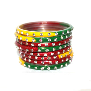 Red, Yellow, green Shade glass bangles set for woman with bead work