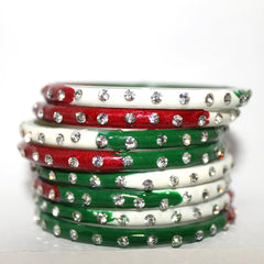 Glass Bangles set with gem and beads work in multicolor