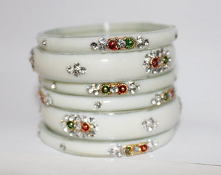 White Designer glass bangles with bead and gem work