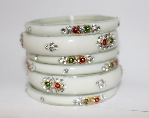 White glass bangles