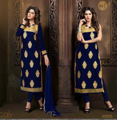 Blue and beige long knee length salwar suits for women