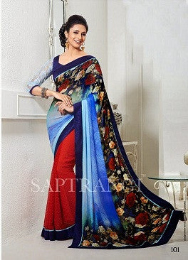 Double shaded blue saree with velvet lace