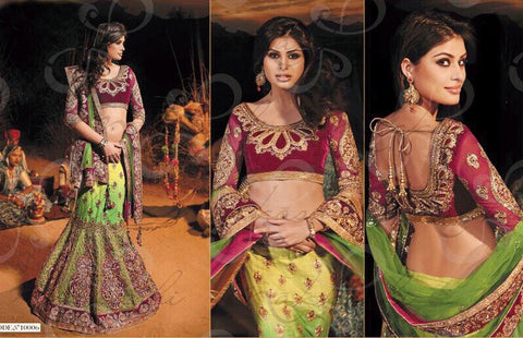 Light Green And Pink Zari Velvet Zardosi Lehenga And Pink Velvet Blouse with Green net Zardosi Net Pallu