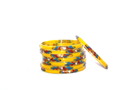 Yellow Glass Bangles for women
