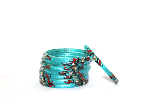 Sky Blue designer glass bangles for woman