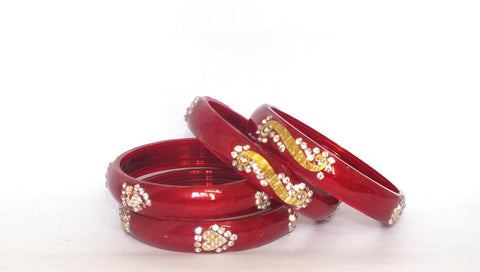 Red Luv Glass bangles(kade) with beads and gems work