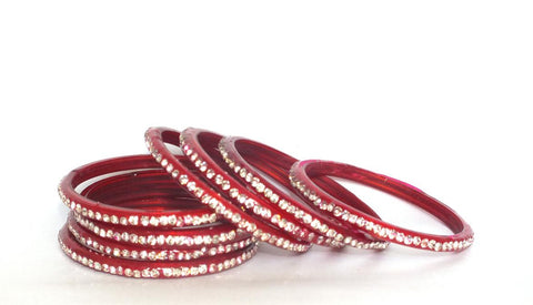 Red Nakshtra Glass bangles set of 8 bangles