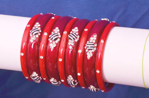 Red Starlet Vibha Glass Bangles set (beads work)