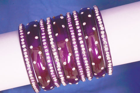 Purple stardust glass bangles