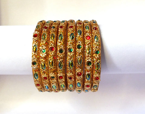 Golden Gems and beads glass bangles