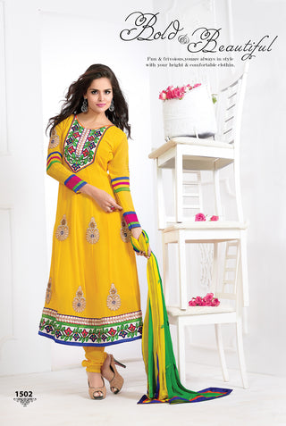 Yellow Designer Goergette suits for women