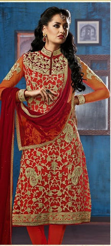 Red Straight Net Suits With Red Dupatta