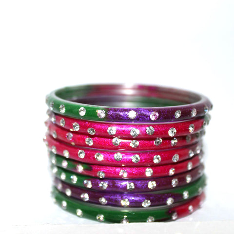 Multicolored designer bonus glass bangles set of 8 shaded bangles