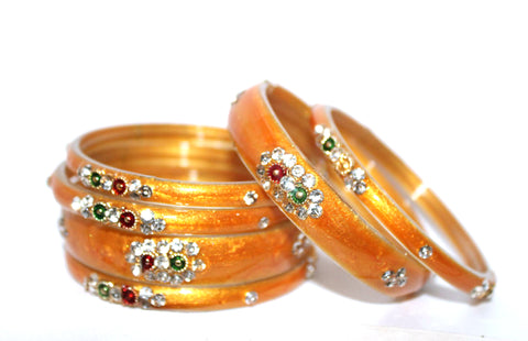 Buy Orange glass bangles