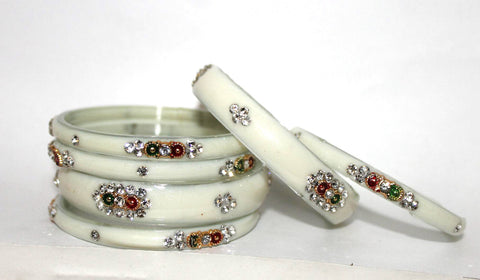 Buy white glass bangles for woman