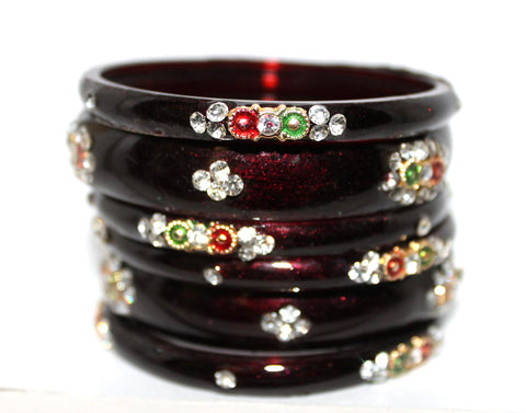 designer  Maroon glass bangles set