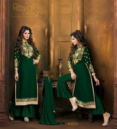 Designer Green velvet long knee length salwar suit for women