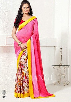 Multi Shaded pink  pallu with lace border saree