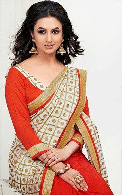 Beige and red printed party and casual saree