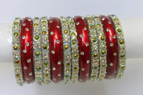 Red-Silver glass bangles with bead and gem work