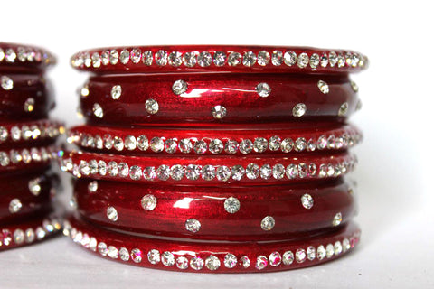Red Stardust nakshtra Glass Bangles for women