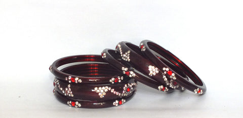 Maroon gems glass bangles
