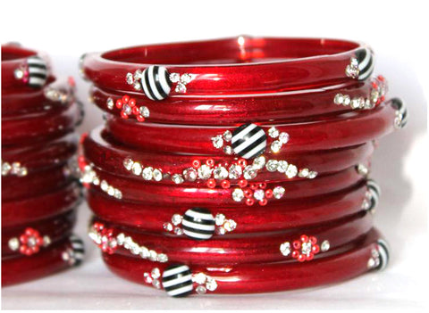 Red designer Prabha Tarika Glass Bangles