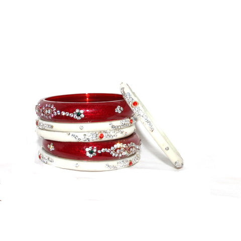 Red & White Madhu Shiti glass bangles for women
