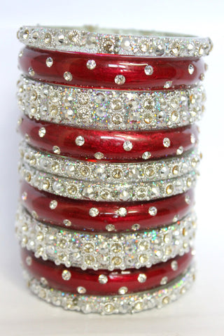 Dual Red and Silver stardust glass bangles for brides