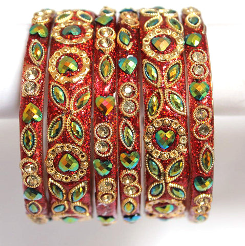 Rajasthani designer glass bangles in red color for women