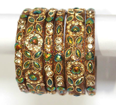 Antique Bling Golden Glass Bangles with gems work