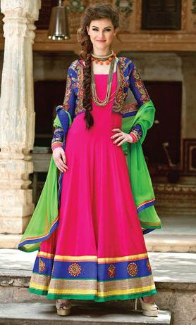 Pink Anarkali Party wear Suits with Green Dupatta