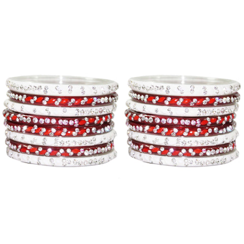 Two shade designer glass bangles with bead work available in red blue and pink color