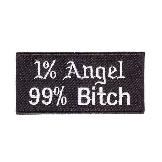 1% Angel 99% Bitch Words Slogan Motorcycle Biker Patch Iron On Patch sew on transfer