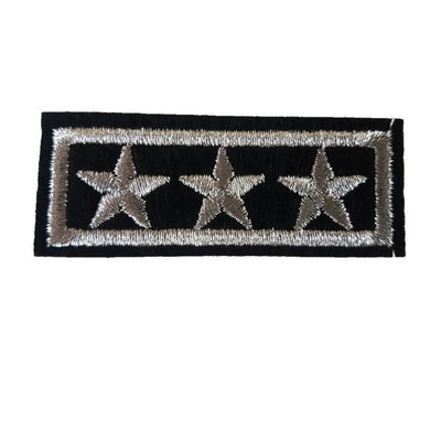 3 Silver Star Bar With Border 3 star General Military Style Iron On Patch Sew on Transfer