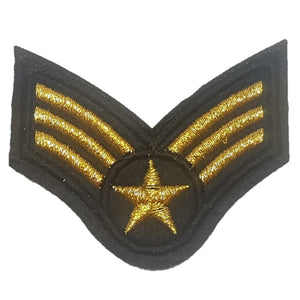 gold airforce sargent style 3 stripes military Iron On Patch Sew on transfer