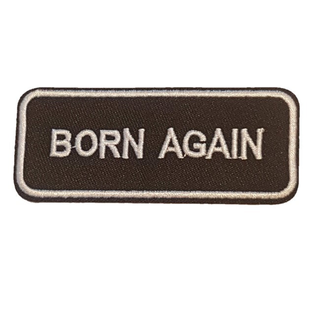 Born Again Words Text Iron On Patch Sew on Transfer